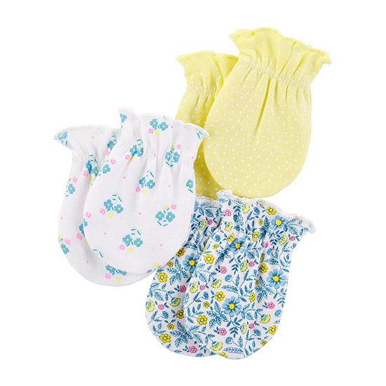 Carter's 3-Pk. Girls Baby Mittens-Baby