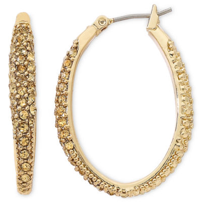 Monet® Gold-Tone Crystal Oval Hoop Earrings