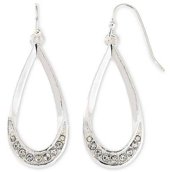 Liz Claiborne® Silver-Tone & Crystal Teardrop Earrings