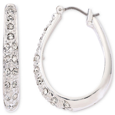 Liz Claiborne® Silver-Tone & Crystal Hoop Earrings