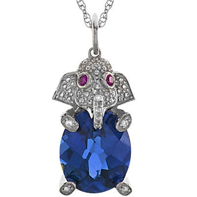 Simulated Blue Sapphire & Simulated White Sapphire Elephant Pendant Necklace