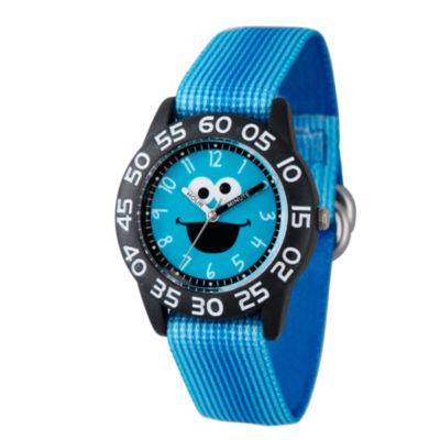 Sesame Street Boys Blue Cookie Monster Time Teacher Strap Watch W003149
