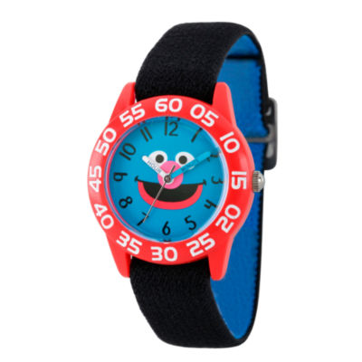 Sesame Street Boys Black And Red Grover Time Teacher Strap Watch W003156