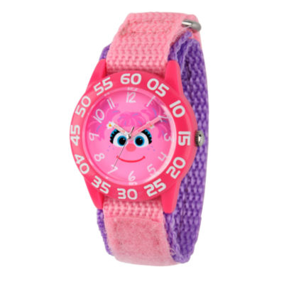 Sesame Street Girls Pink Abby Cadabby Time Teacher Strap Watch W003159