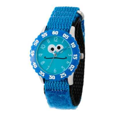 Sesame Street Blue Cookie Monster Time Teacher Strap Watch W003166