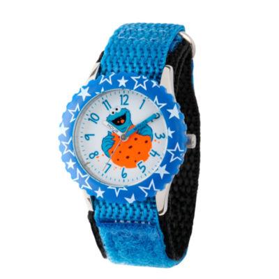 Sesame Street Boys Blue Cookie Monster Stars Time Teachers Strap Watch W003176