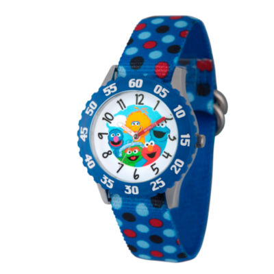 Sesame Street Blue Polka Dot Friends Time Teacher Strap Watch W003179