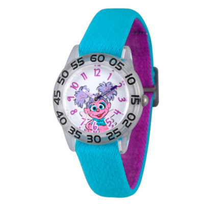 Sesame Street Girls Blue And Silver Tone Abby Cadabby Time Teacher Strap Watch W003191