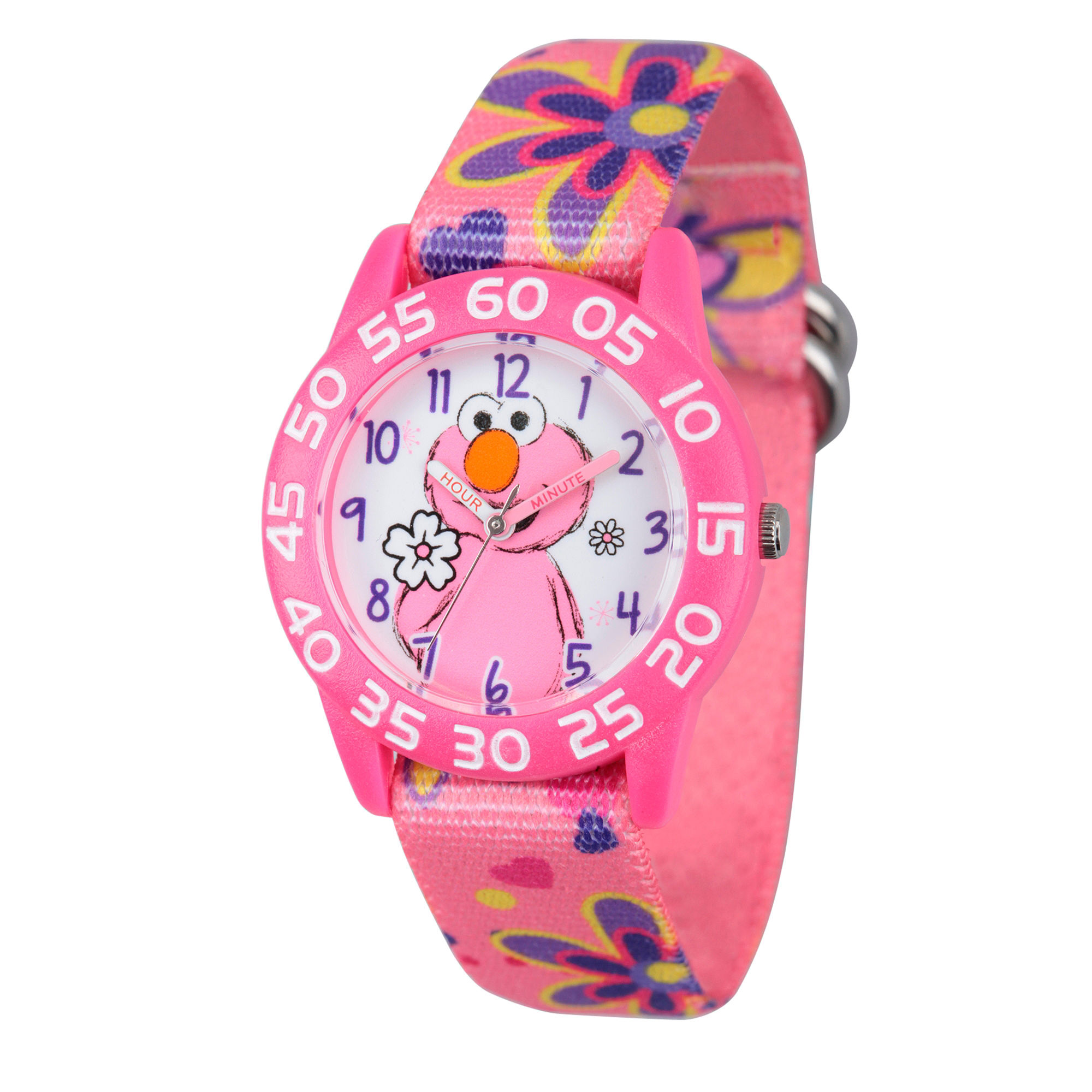 Sesame Street Girls Pink Flowered Elmo Time Teacher Strap Watch W003204