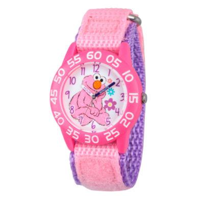 Sesame Street Pink And White Elmo Time Teacher Strap Watch W003210