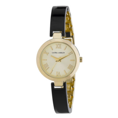 Laura Ashley Womens Black/Gold Resin Link Watch La31002Bk