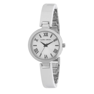 Laura Ashley Ladies White/Silver-Tone Resin Link Watch La31002Wt