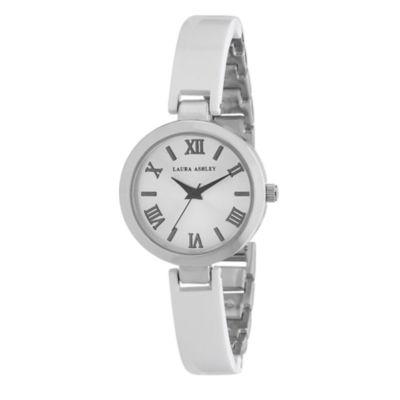 Laura Ashley Womens White/Silver Resin Link Watch La31002Wt