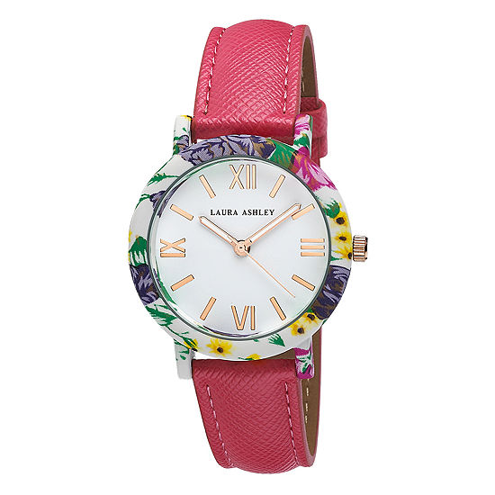 Laura Ashley Ladies Pink Band Floral Bezel Watch La31003Pk