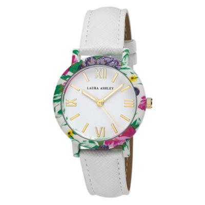Laura Ashley Ladies White Band Floral Bezel Watch La31003Wt