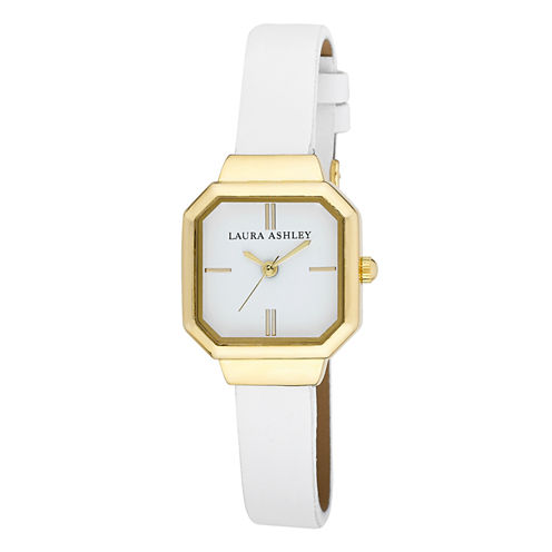 Laura Ashley Ladies White Petite Case With Matching Colored Sunray Dial Watch La31004Wt