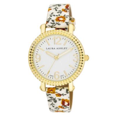 Laura Ashley Ladies White Floral Band Fluted Bezel Watch La31005Wt