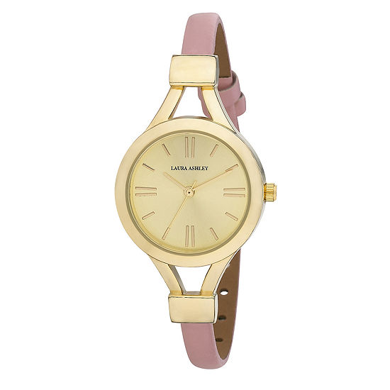 Laura Ashley Womens Pink Thin Strap Gold Case Watch La31011Yg