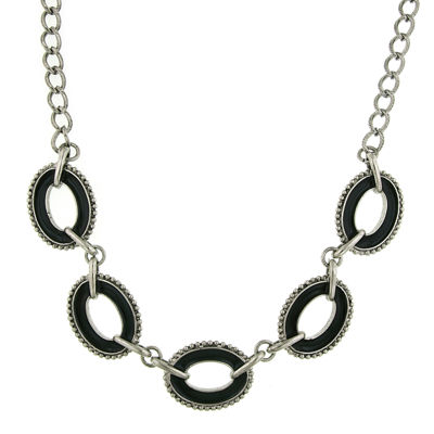 1928® Jewelry Silver-Tone Black Enamel Oval Station Reversible Necklace