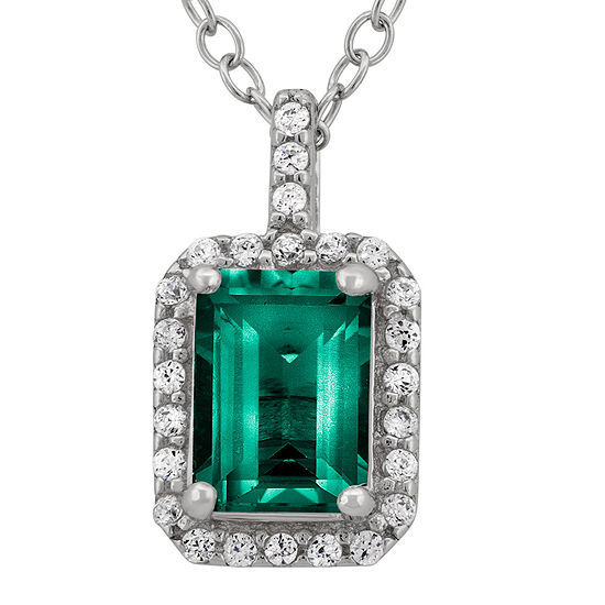 Lab Created Emerald Cubic Zirconia Sterling Silver Pendant