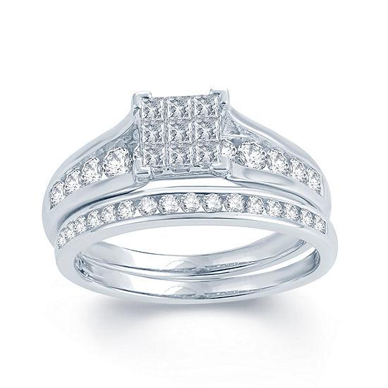 1 CT. T.W. Genuine Diamond 10K White Gold Bridal Ring Set