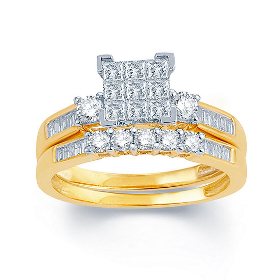 1 CT. T.W. Genuine Diamond 10K Yellow Gold Bridal Ring Set