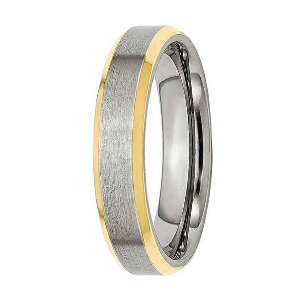 Mens 5mm Stainless Steel Yellow Ion-Plated Wedding Band
