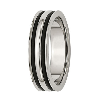 Mens 6mm Stainless Steel Black Rubber Inlay Wedding Band