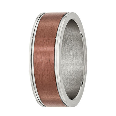 Mens 8mm Bronze Tone IP-Plated Stainless Steel Wedding Band