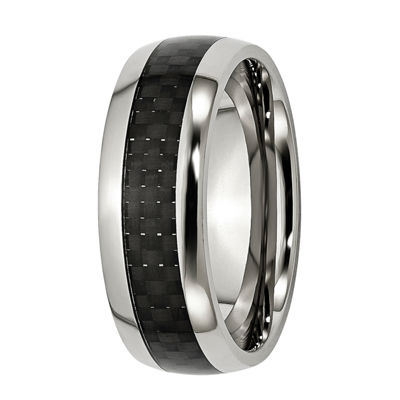 Mens 8Mm Black Stainless Steel Wedding Band