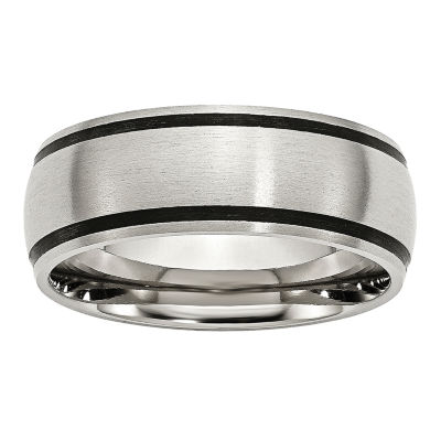Mens 8mm Stainless Steel & Black Rubber Wedding Band