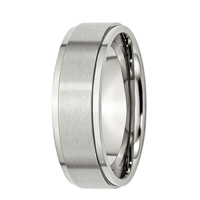 Mens 7mm Stainless Steel Wedding Band