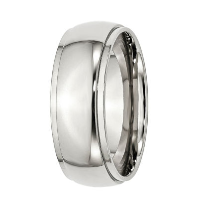 Mens 8mm Stainless Steel Wedding Band