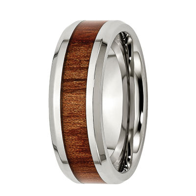 Mens 8mm Stainless Steel Wood Inlay Wedding Band