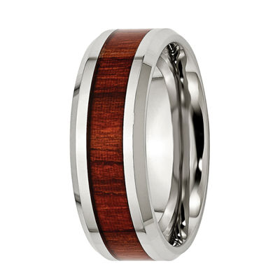 Mens 8mm Stainless Steel Wood Inlay Enameled Wedding Band