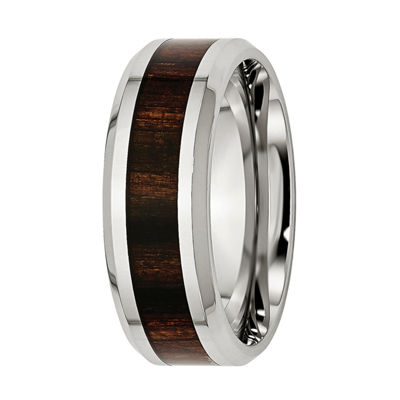 Mens 8mm Stainless Steel Black Wood Inlay Wedding Band