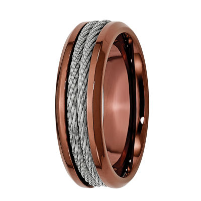 Mens 7mm Stainless Steel & Brown Ion-Plated Wedding Band