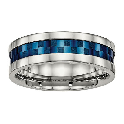 Mens 8mm Stainless Steel & Blue Ion-Plated Wedding Band
