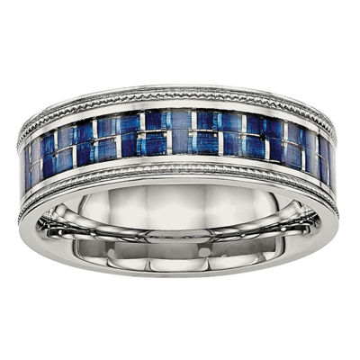 Mens 8mm Stainless Steel Blue Carbon Fiber Textured Wedding Band