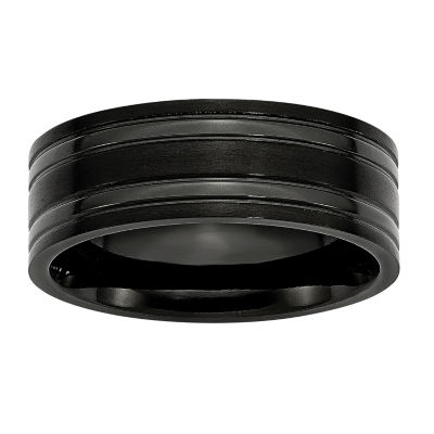 Mens 8Mm Black Ip Plated Black Titanium Wedding Band