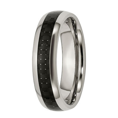 Mens 6Mm Titanium & Black Carbon Fiber Wedding Band