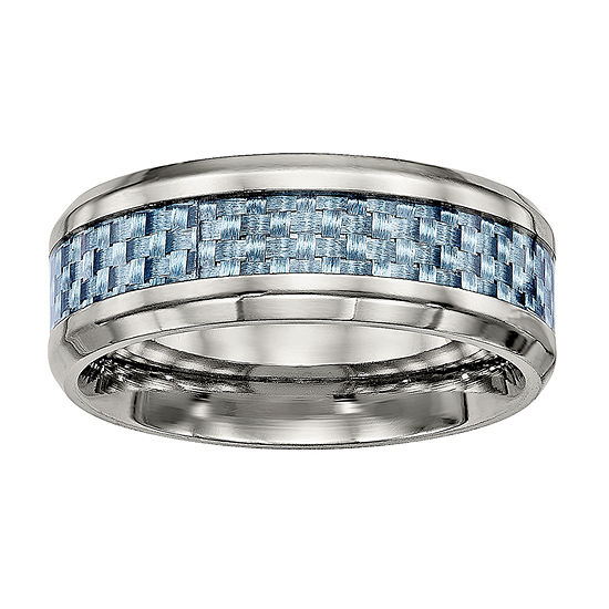 Mens Anium Blue Carbon Fiber Inlay Wedding Band