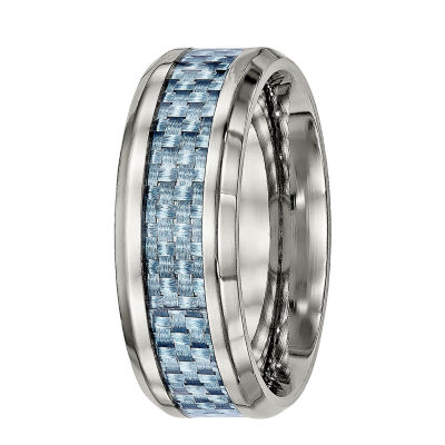 Mens Titanium & Blue Carbon Fiber Inlay Wedding Band