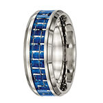 Mens Titanium With Blue & White Carbon Fiber Inlay Wedding Band