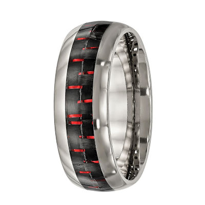 Mens Titanium With Black & Red Carbon Fiber Inlay Wedding Band