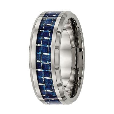 mens titanium blue carbon fiber wedding band - Carbon Fiber Wedding Ring