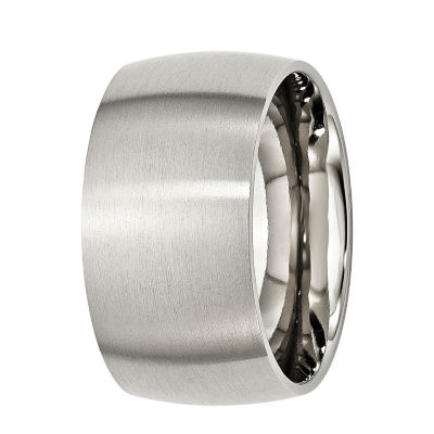 Mens 12Mm Stainless Steel Wedding Band