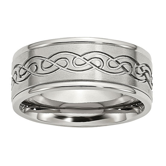 Mens 9Mm Stainless Steel Wedding Band