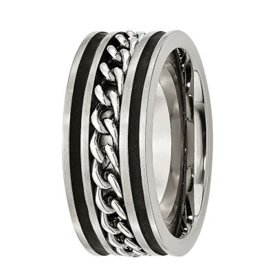 Mens 10Mm Stainless Steel & Black Ip-Plated Wedding Band
