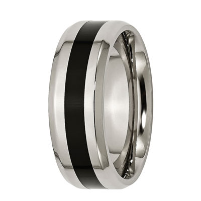 Mens 8mm Titanium & Black Enamel Wedding Band